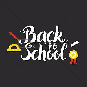 Back to School Lettering over Blackboard