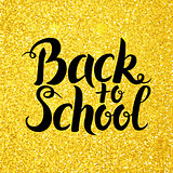Back to School Vector Lettering over Gold Glitter