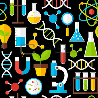 Black Seamless Pattern Science Education