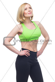 Beautiful middle aged woman doing sport exercise