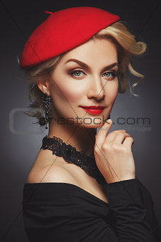 Beautiful lady in red beret