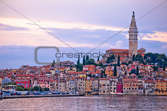 Town of Rovinj sunset view