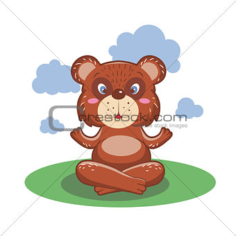 Character cute and beautiful bear practice of yoga. illustration