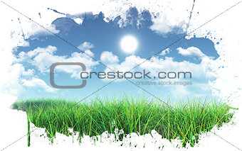 3D Green grass against blue sky with paint splatter frame