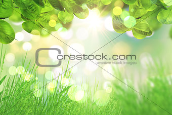 3D green leaves and grass