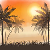 Silhouettes of palm trees on watercolor sunset