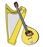 Irish National Musical Instruments. Celtic Harp and Bouzouki