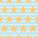 Seamless pattern with cute cartoon starfishes on blue wave background.