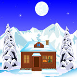 Lodge in wood in winter