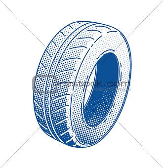 Car tire. Rubber wheel.