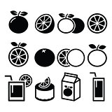 Orange icons set - food, nature concept vector designs