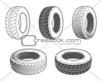 Car tire. Rubber wheel. Set.