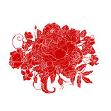 Vector red Floral
