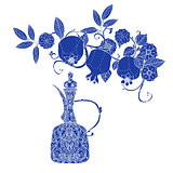 Oriental patterned jugs blue