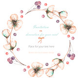 Wreath, frame with the watercolor pink abstract flowers and berries, wedding design, greeting card or invitation