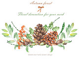 An illustration isolated with the floral watercolor forest elements (oak acorns, cones, rowan)