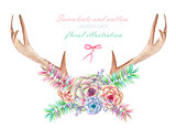 A floral watercolor illustration with the antlers, entwined succulents, flowers, leaves and branches, for decoration