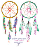 Illustration with dreamcatchers, hand drawn in watercolor on a white background