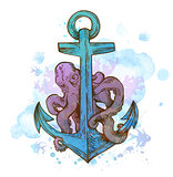 Vintage hand drawn anchor and octopus