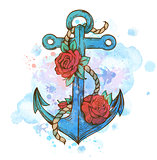 Vintage hand drawn anchor and red roses
