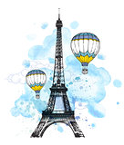 Eiffel Tower and air balloons