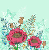 Red poppy flowers and butterflies