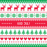 God Jul pattern - Merry Christmas in Swedish, Danish or Norwegian