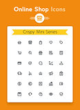 Vector line online web shop and retail tiny icon set. Minimalistic crisp contour icons for the best recognition in small size use