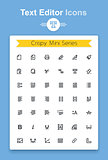 Vector line text document editing application tiny icon set. Minimalistic crisp contour icons for the best recognition in small size use