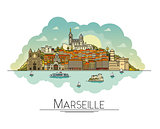 Vector line art Marseille, France, travel landmarks and architecture icon. The most popular tourist destinations, city streets, cathedrals, buildings, symbols in one illustration
