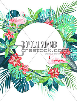 Bright hawaiian design with flamingos, tropical plants and hibiscus flowers