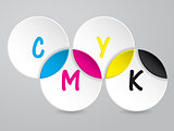 Background with 3d circles and CMYK text