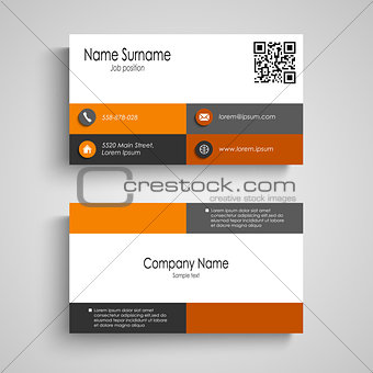 Business card with orange grey squares design