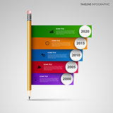 Time line info graphic with pencil and colored stripes template