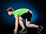 man runner running jogger jogging isolated