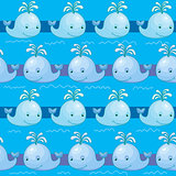 Seamless pattern with whale vector illustration