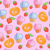 Sweet pattern cakes on pink background. Seamless.