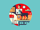 Vet clinic flat illustration