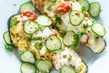 Stuffed zucchini with couscous and mozzarella