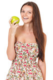 Teen girl with green apple