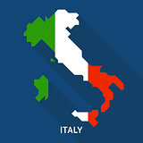 Italy flag,map flat icon with long shadow