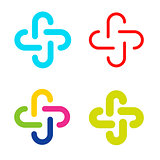 Isolated abstract colorful cross vector logo set. Outlined plus signs collection. Medical icons group.
