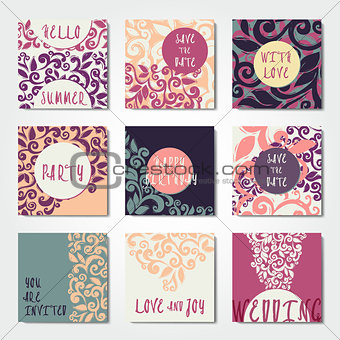 Abstract decorative postcard templates