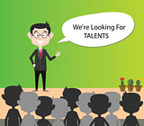 we are looking for talents businessman present on crowd of people vector graphic