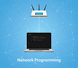 network programming concept with laptop and router with program code vector graphic