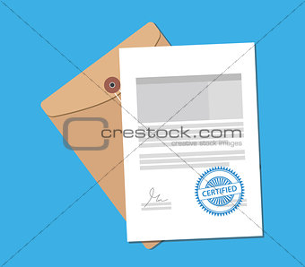 certified stamp on paper document with flat style vector graphic