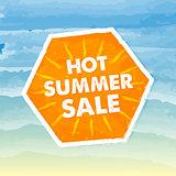 hot summer sale in orange label over sea background