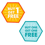 buy one get one free in grunge flat design hexagons labels