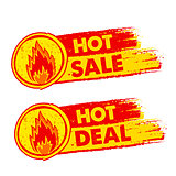 hot sale and deal on fire, yellow and red drawn labels with flam