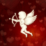 cupid silhouette with hearts over red old paper